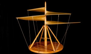 "Model of Leonardo da Vinci's Aerial Screw, on display in the exhibit, ""Leonardo da Vinci: The Mechanics of Genius,"" held at the Science Museum in London, from Oct. 9, 2015 to April 9, 2016 (image credit: Alessandro Nassiri/Archivio Museo Nazionale della Scienza e della Tecnologia)"